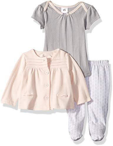 JUST BORN Baby Girls Keepsake 3 Piece Cardigan Bodysuit and Pant Set