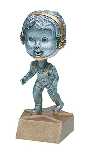 Wrestling Pewter Bobblehead Trophy - Customize Now - Personalized Engraved Plate Included & Attached to Award - Perfect Awards Trophy - Hand Painted Design - Decade Awards by Decade Awards