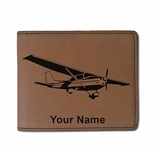Price comparison product image Faux Leather Wallet - Cessna Airplane - Personalized Engraving Included (Dark Brown)