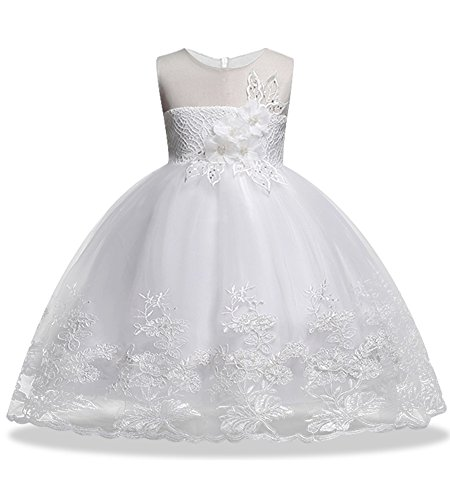 Girl Ball Gown Dresses Sleeveless Size 2 3 Pageant Party Wedding Dress 18-24 Months Lace Tulle Toddler Girl Dresses 3T Princess Wedding White Little Girl Dresses Special Occasion Tops (White -