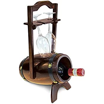 Puzzled caesar 3 bottles 2 wine glasses wooden holder lighthouse shape wine - Wine rack shaped like wine bottle ...