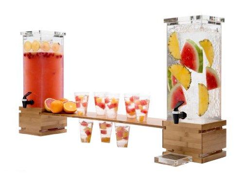Rosseto LD112 Bamboo Base Rectangle Beverage Dispenser, 2-Gallon