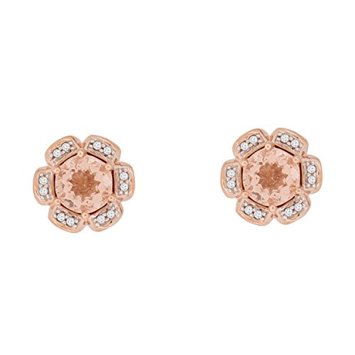 Christmas Gifts 925 Sterling Silver Earring Rose Gold Plating with Real Natural Diamond Studded (I3 Clarity) Floral Design For Her (Rose Gold Earring) by Store Indya Jewelry