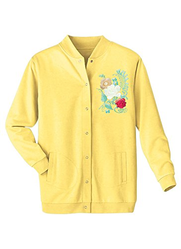 Carol Wright Gifts Embroidered Snap Cardigan, Color Yellow, Size Medium, Yellow, Size (Embroidered Fleece Cardigan)