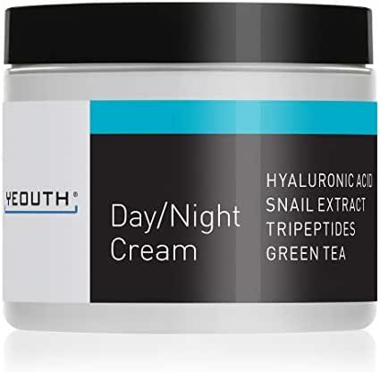 YEOUTH Day Night Moisturizer for Face with Snail Extract, Hyaluronic Acid, Green Tea, and Peptides, Anti Aging Day Cream or Night Cream Moisturizer for Dry Skin, 4 oz
