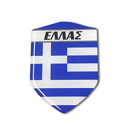 - Greece Flag sticker Proud Shield Domed Decal Emblem Car Sticker 3D 2.3