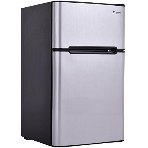 Costway 2-Door Compact Refrigerator 3.2 cu