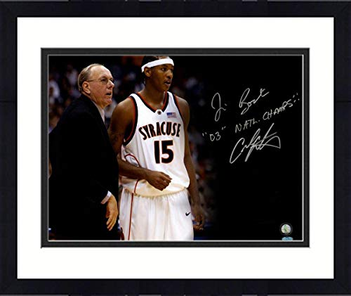 Framed Carmelo Anthony & Jim Boeheim Syracuse Orange Signed 16x20 photograph Inscribed