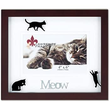 Amazon.com - Lawrence Frames Walnut Wood 4 by 6 Meow Picture Frame ...