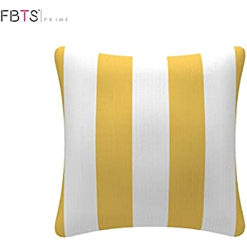 Fbts Prime Throw Pillow With Insert Indoor Outdoor 18 By 18 Inches Decorative Square Cushion Cover Pillow Sham Yellow White Stripe For Couch Bed Sofa