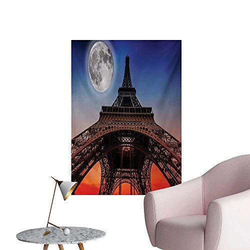 Anzhutwelve Eiffel Tower Wall Sticker Decals Full Moon Night Sky Dusk Digital Style Minimal French Flag Eiffel Tower DigitalNavy Red W24 xL36 Poster Print]()