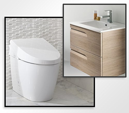 TOTO MS982CUMG#01 Neorest 550H Toilet with FREE 24'' European Floating Bathroom Vanity with Sink, Brown by TOTO
