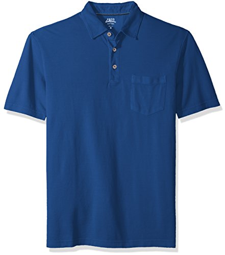IZOD Men's Saltwater Pigment Polo, Estate Blue, (Pockets Rugby)