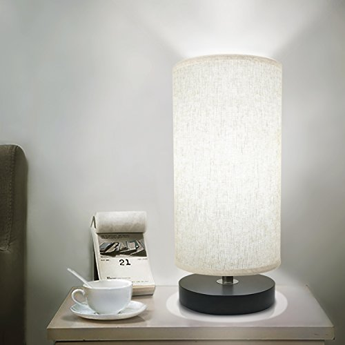 Bedside Table Lamp, Aooshine Minimalist Solid Wood Table Lamp Bedside Desk Lamp Simple Desk Lamp, Round Nightstand Lamp with Fabric Shade -