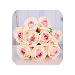 Pink-star 10pcs/lot Vivid Rose Artificial Flowers Desktop Silk Flower Simulation Fake Plant Wedding Houseware Home Decor 71