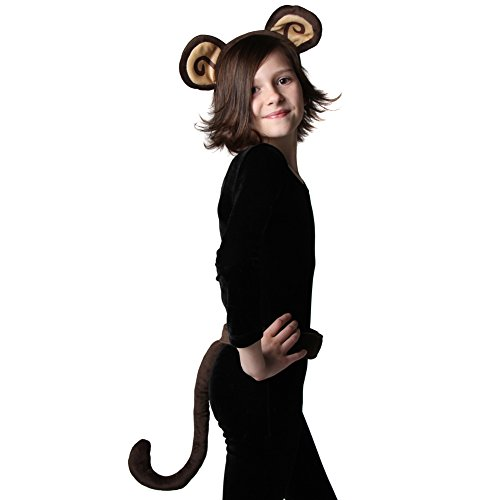 Kids Brown Plush Monkey Business Costume Ears and Tail Set (Costume Monkey Tail)