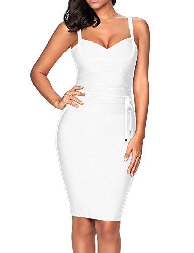 houstil Women's Celebrity Party Dress Spaghetti Strap Bandage Dress with Belt Detail (White, M)