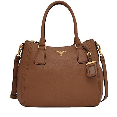 Prada Womens 1BC032 Vitello Phenix Leather Convertible Bag Cannella