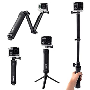 Mibote 3 Way Grip Arm Tripod Handheld Monopod Adjustable Foldable Mount Holder for Gopro Hero 5/4/3+/3/SJCAM 4000/5000/6000/XiaoYi Action Camera