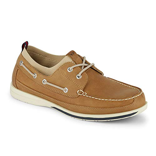 Dockers Mens Homer Smart Series Leather Boat Shoe with NeverWet, Dark Tan, 12 M
