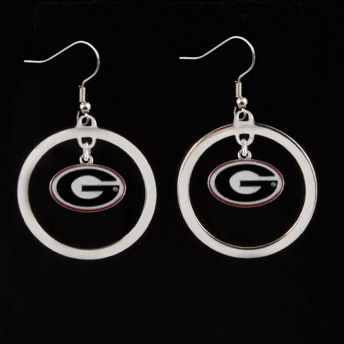 Georgia Bulldogs Hoop - NCAA Georgia Bulldogs Floating Logo Hoop Earrings
