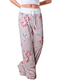Women s Comfy Casual Pajama Pants Floral Print Drawstring Palazzo Lounge  Pants Wide Leg 7711475bb