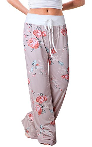Women's Summer Pjs Pant Comfy Stretch Floral High Waist Wide Leg Lounge Palazzo Pajamas Pants (Tag XL (US 10), Khaki)