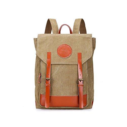 ivotre 2017Slim Vintage de Lona Casual bolsa de hombro mensajero mochila con decoración de piel Para Hombres de trabajo, campamento, estudio, Hike, hacer deporte, viajes, tienda Caqui