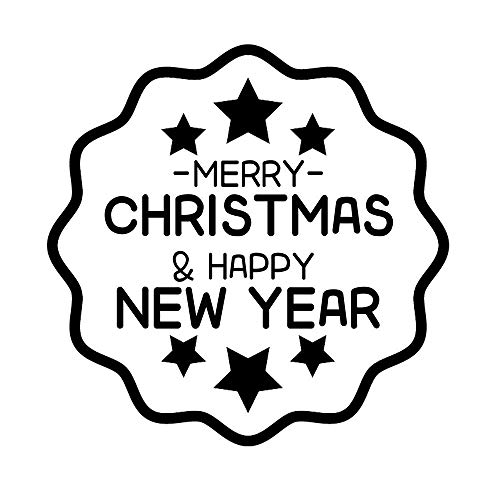 Stamper Personalized Merry Christmas Gift Xmas Happy New Year Super Star Design Scrapbooking Decoration Card Making Supplies Return Name Address Label Rubber Stamp Business Housewarming Gifts ()