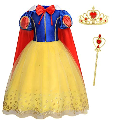 AmzBarley Snow White Toddler Dress for Girls Birthday Fancy Party Halloween Outfits Kids Princess Dress up Halloween Costumes Clothes with Crown and Wand Size 4T(3-4Years) -