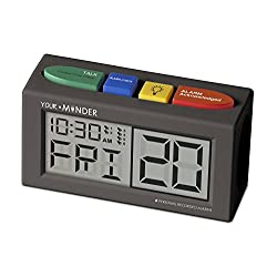Reminder Clock with Voice Recording Feature, Loud, Easy Set, Multiple Alarms by MedCenter