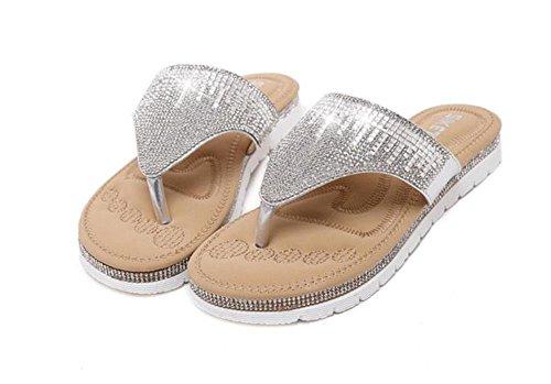 Mine tom Mujeres Chicas Moda Verano Zapatillas Rhinestone Zapatos Playa Pío Sandalias De Punta Flip Flops Plateado