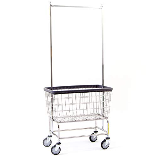 Basket Carts Wire - R&B Wire 200F56 Large Capacity Wire Frame Metal Laundry Cart with Double Pole Rack
