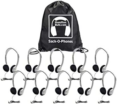 Hamilton Buhl Sack-O-Phones, 10 HA2 Personal Headsets, Foam Ear Cushions in A Carry Bag