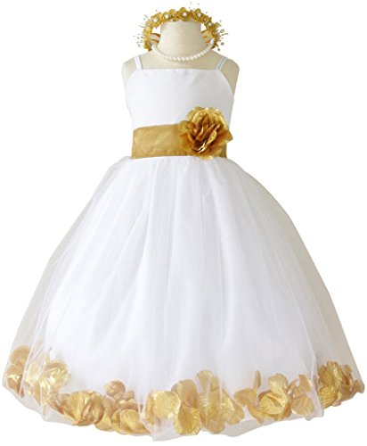 Flower Girl Dress Rose Petal Paperio Easter Wedding - White And Gold Dress Kids