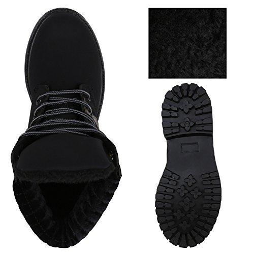 Stiefelparadies Damen Worker Boots Leicht Gefütterte Outdoor Schuhe Profilsohle Flandell Schwarz Gesteppt