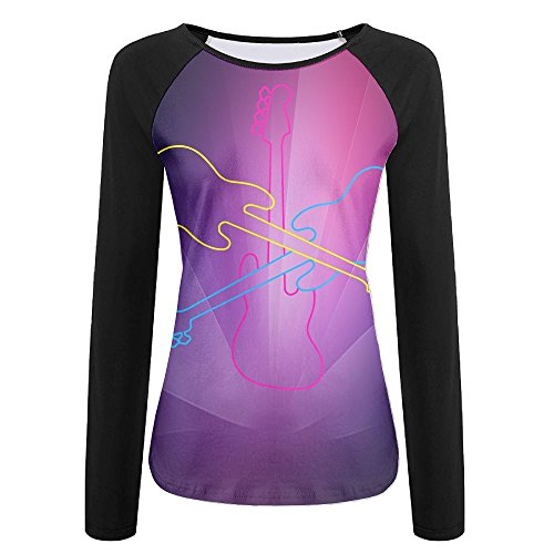 - SESY 3D Print Color Guitar Long Sleeve Shirt Womens Athletic Baseball Shirt.