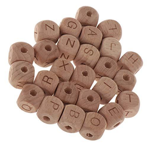 Educativos Accesorios de Bricolaje Juguetes. B Baosity 26 Unids Cuentas de Madera Forma de Cubo y Letras Diferentes