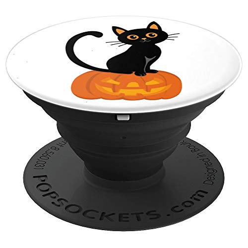 Halloween Black Kitty Cat Feline Pumpkin Face Carved - PopSockets Grip and Stand for Phones and Tablets -