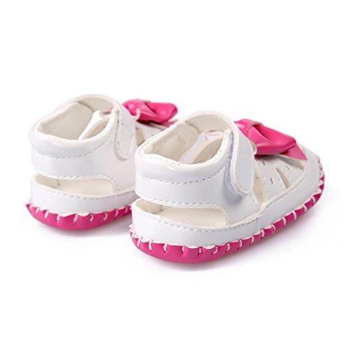 Tefamore Zapatos de las Sandalias de Corbata de moño del bebé de los Princesa primeros caminantes del niño Rosas fuertes