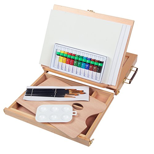 Falling in Art Portable Table Easel with Painting Set - 12 Tube Acrylic Colors, 12''x9'' Canvas Panels, Brushes, 6 Well Palette and Wooden Palette