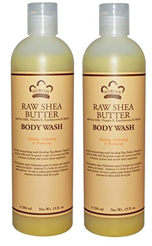 (Nubian Raw Shea Butter Body Wash (Pack of 2) With Soy Milk, Vitamin B-5 and Vitamin E, 13 fl. oz. Each)