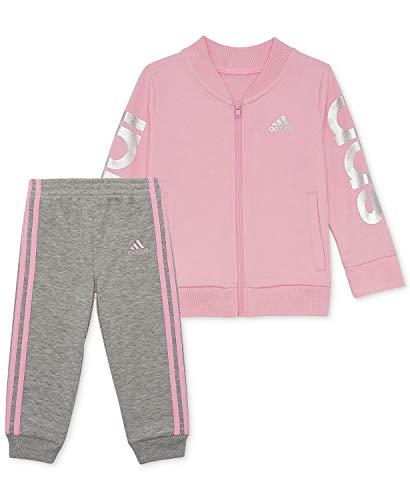 adidas Girls' Tricot Zip Jacket and Pant Set (Light Pink/Silver/Grey, 4)