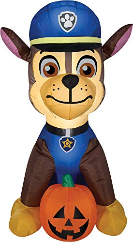 (Gemmy Airblown Inflatable Chase From Nick Jr Paw Patrol Sitting With a Pumpkin - Holiday Decoration, 3-foot Tall x 2.5-foot)