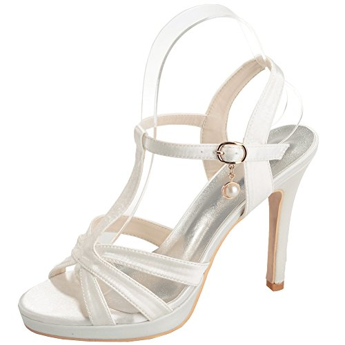 Loslandifen Donna Open Toe Cinturini Alla Caviglia Pompe Stile Stiletto Tacchi Alti Da Sposa Scarpe Da Sposa Avorio