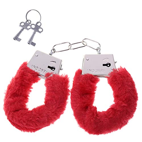 a-YUEYUE Stylish Charm Fluffy Hand Cuffs, Soft Handcuffs with Lock Keys for Couples - Red