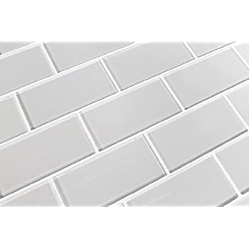 sample color swatch of country cottage warm off white 3x6 glass subway tile for kitchen backsplash