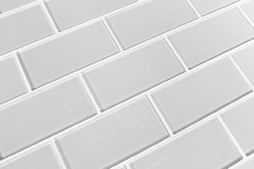 Sample Color Swatch of Country Cottage Warm Off White 3x6 Glass Subway Tile for Kitchen Backsplash/Tub Surround from Rocky Point Tile (Glass Tiles For Backsplash)