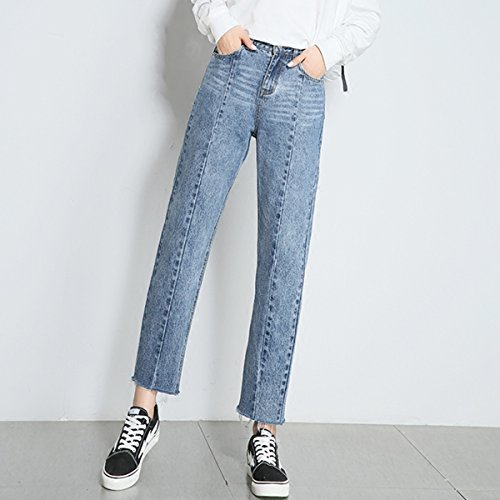 Jeans Packitcute Haren clair haute Harajuku bleu droits Fashion Denim Pantalons taille PdnqCFdTwx