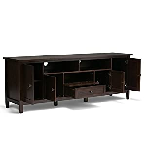 "Simpli Home Warm Shaker Solid Wood 72"" TV Media Stand, Tobacco Brown"